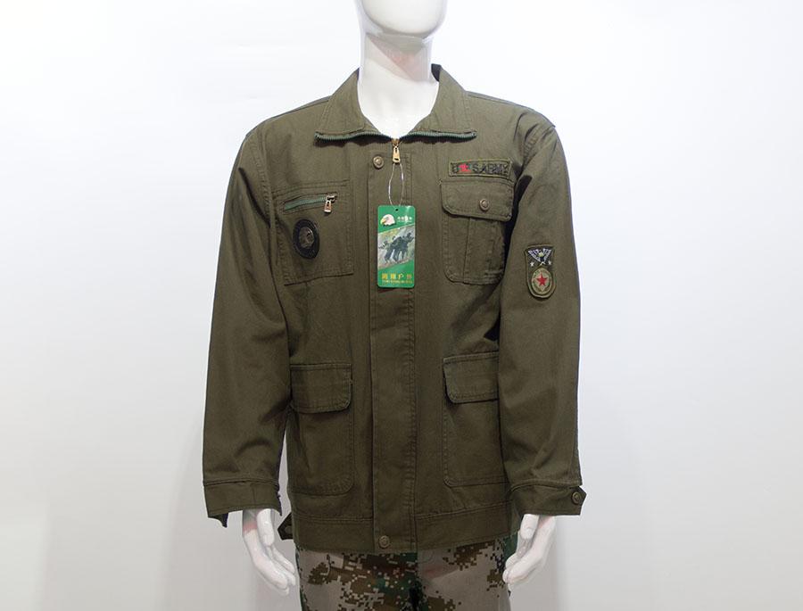 军绿色长袖工作服